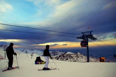 Sundown on top of Erciyes Mountain, Ski Center in Kayseri
