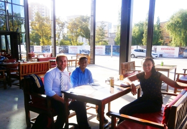 Head of International Office, Steel Building, AGU Café, interview international student Omar