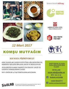 Neighbourly kitchen, volunteering project, Abdullah Gül University, Youth Factory, Open Arms Kayseri, Goethe Institut, Robert Bosch Foundation, SivilLAB