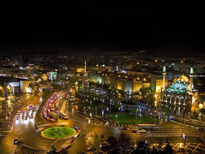 Kayseri, Turkey, Central Anatolia, Meydan, Main square, city center, by night