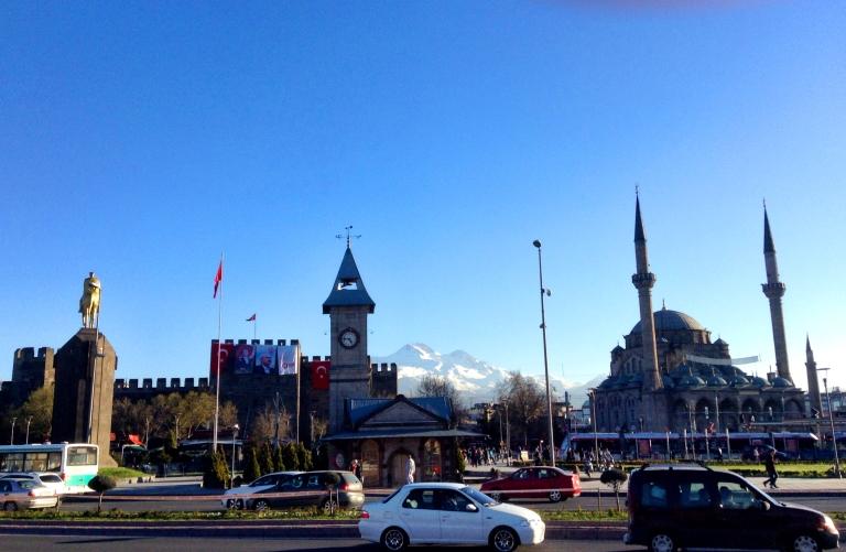 Kayseri, Turkey, Abdullah Gül University, city center, castle, Erciyes Mountain, snow