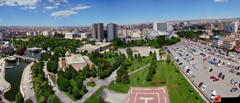 Kayseri, Turkey, aerial view, city center, mimar sinan park