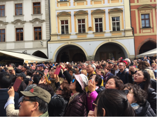Prague, market place, astronomical clock, tourists